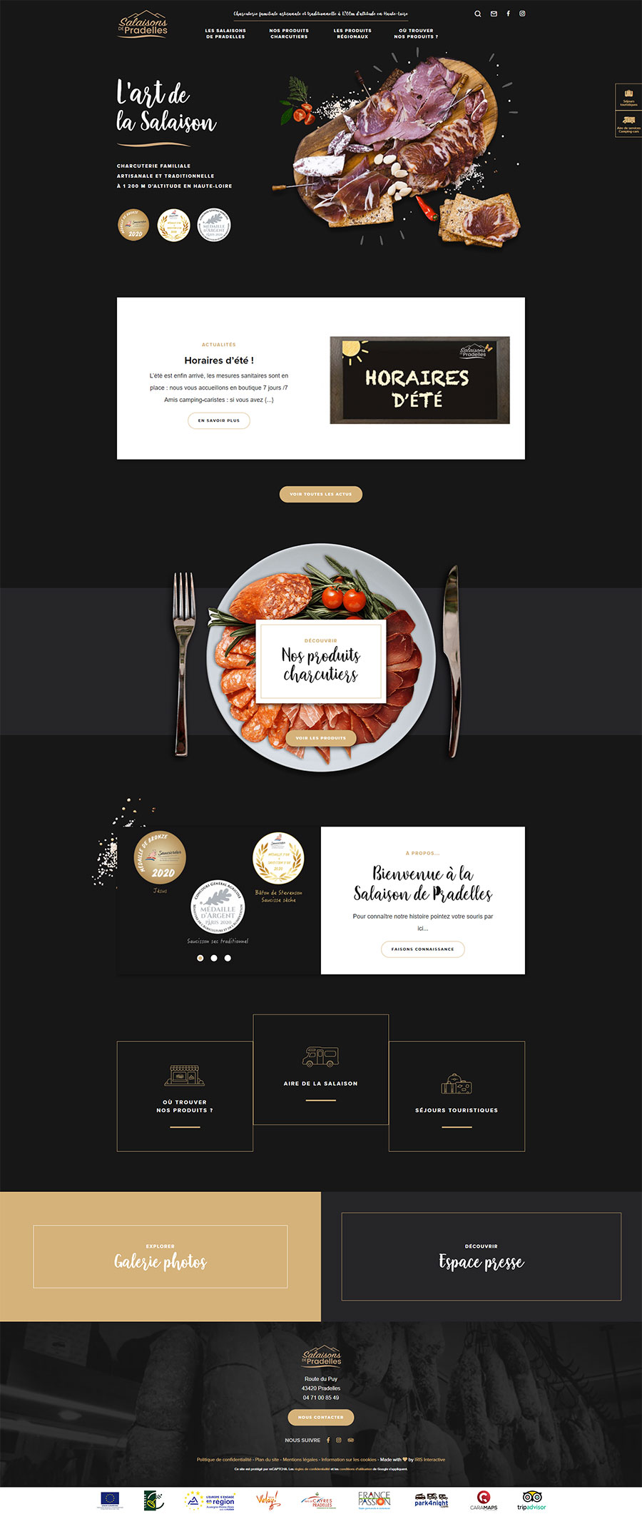 Maquette du site internet des salaisons de pradelles