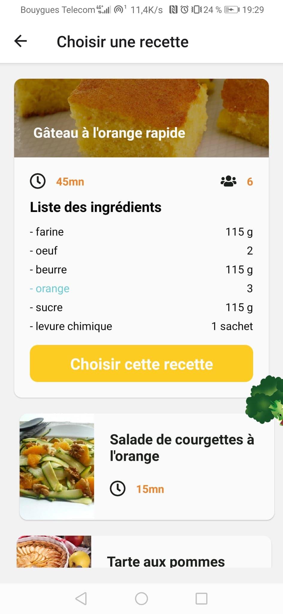 Ecran de sélection d'une recette proposée par rapport aux ingrédients choisis