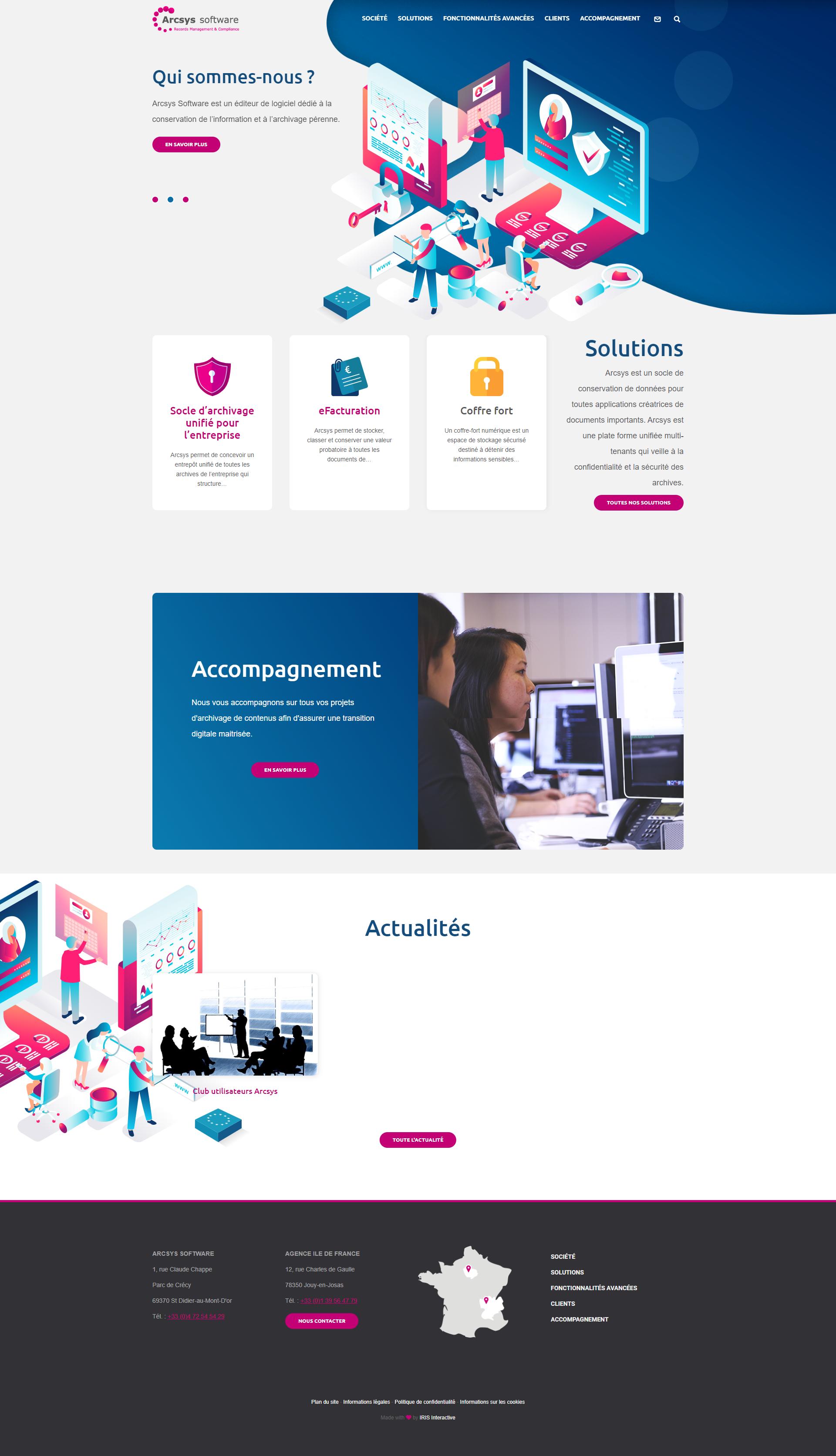 Maquette du site internet de l'entreprise Arcsys Software