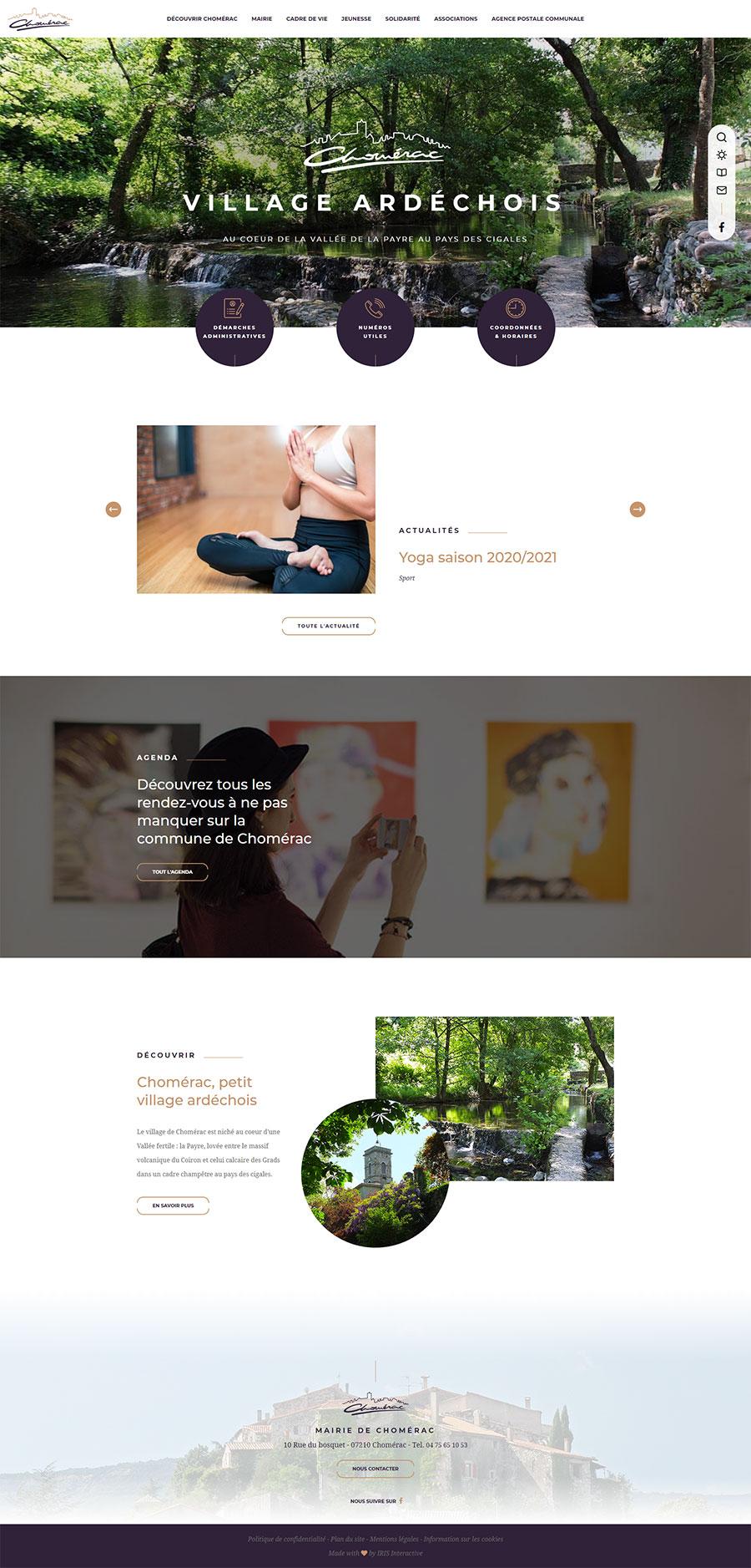 Maquette du site internet de la mairie de Chomérac