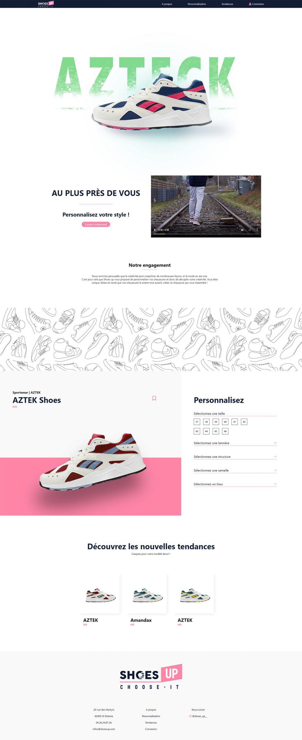 Maquette du site internet ShoesUp